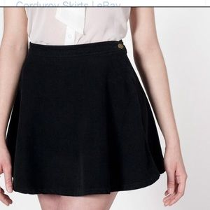 American apparel black corduroy short skirt.